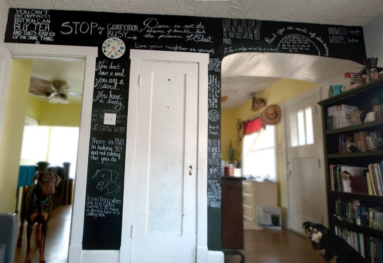 chalkboard wall with quotes